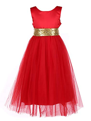 Tutu Dreams Girls Princess Red Gown Dress with Sequin Waist Tie for Ball Prom Party New Years Eve Dress (Red, 4-5 Years)]()