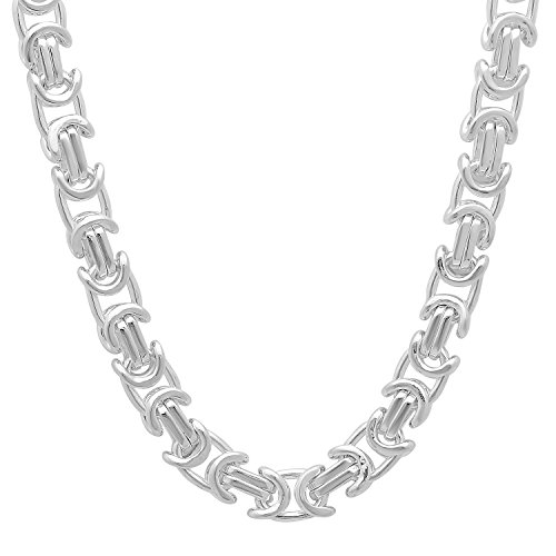 6.1mm 925 Sterling Silver Nickel-Free Byzantine Link Chain, 18'' - Made in Italy + Cleaning Cloth by The Bling Factory