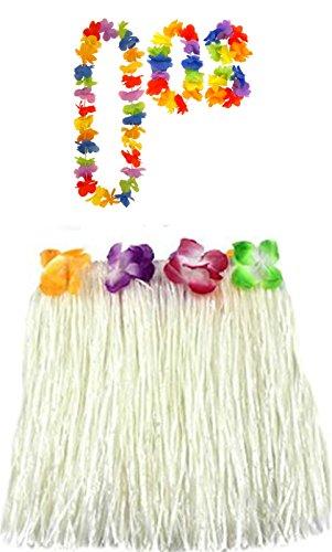 amp; Jupe Lei Blanc 80cm Collier Dress Hula Hawaiian Fancy Long Hen Ladies Hula 40cm ou Set Wedding Night 40cm Bracelet Hula 0x8C1zqw