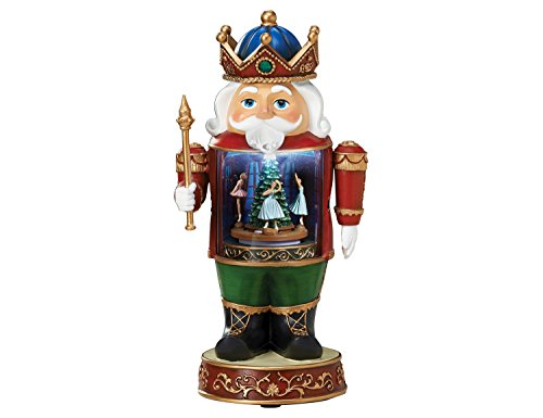 Santa Musical Nutcracker - Royal Santa Nutcracker w/ Ballerina Dance of the Sugar Plum Fairies Scene Musical Rotating LED Light Up Figurine Statue