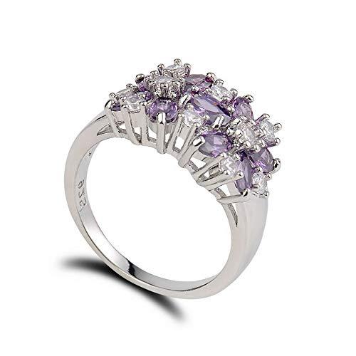 (Monowi Women 925 Silver Ring Jewelry Gorgeous Aquamarine Flash Sapphire Wedding Ring   Model RNG - 6587   #10)