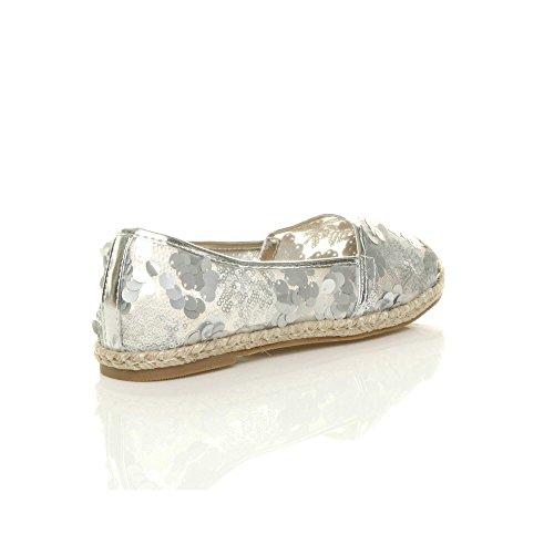 Espadrilles Shoes Dolly Size mesh Sequin Ladies Ajvani Flat Sparkly Womens Ballerina White SwqAng8Zx