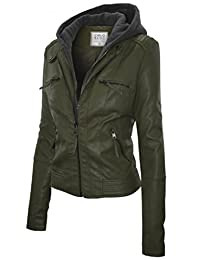 Ever77 Women's Hooded Faux Leather Moto Jacket/TC1032CI
