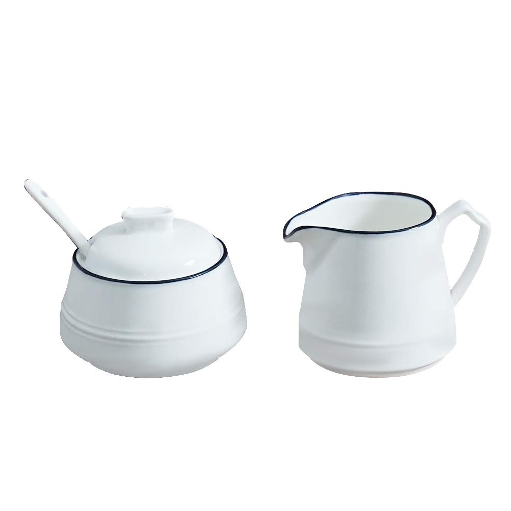 LIONWEI LIONWELI Ceramic White Creamer and Sugar Set with Lid Spoon 4 Piece