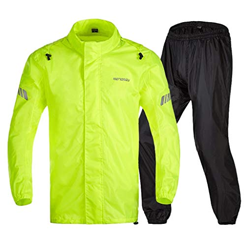 Majing Rainsuit- Heavyweight Waterproof Jacket/Trouser Suit Adult Windproof Coat/Pants Set (Size : L)