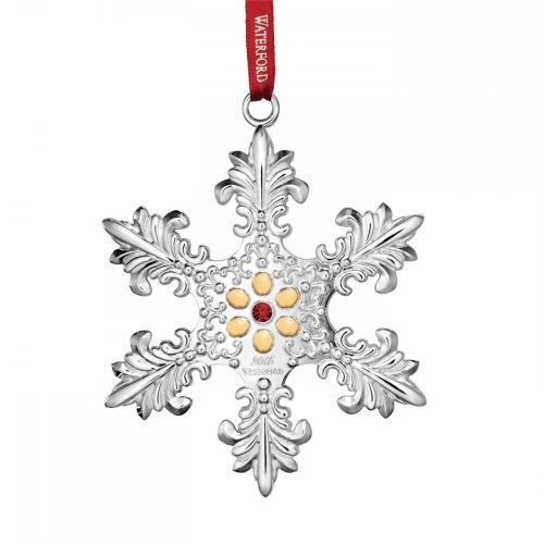 2015 Waterford Annual Snowflake with Gold Accents Silver Christmas Ornament Waterford Snowflake Ornament