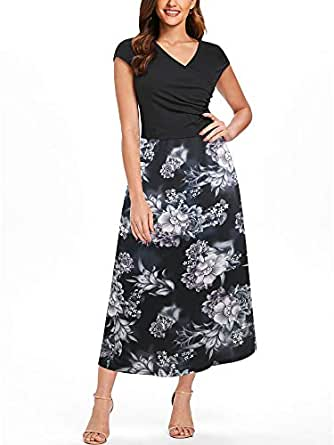 oxiuly Women's Criss-Cross V-Neck Cap Half Sleeve Floral Casual Work Party Tea Swing Dress OX233 - Black - Small