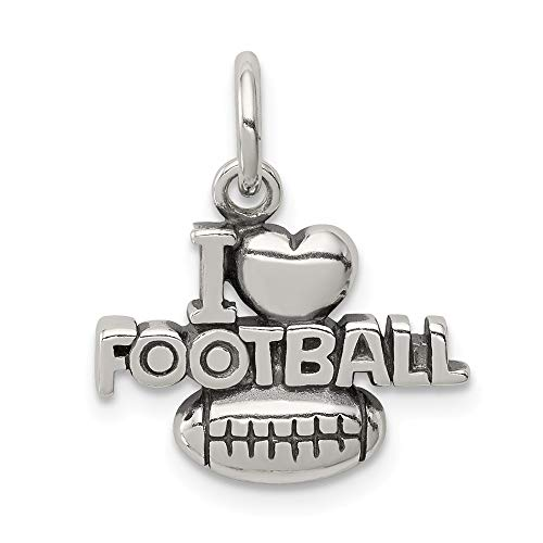 925 Sterling Silver Antique I Heart Football Pendant Charm Necklace Sport Fine Jewelry Gifts For Women For Her