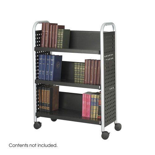 Scoot Book Cart, Three-Shelf, 33w X 14-1/4d X 44-1/4h, Black by Safco