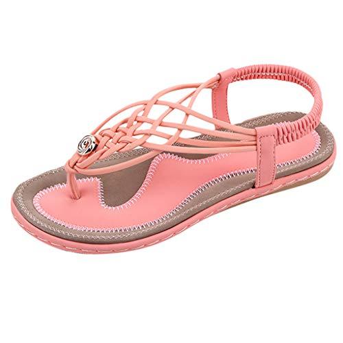 Respctful✿Women Causal Flip Flop Sandal Slip Flop Flats Sandals Beach Slipper Casual Wear Cut Out Flat Sandals Shoe Pink