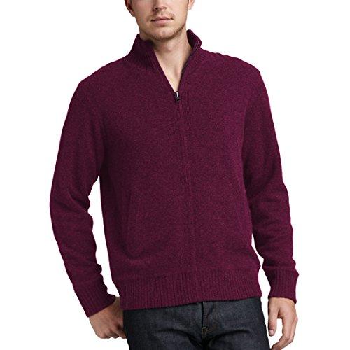 Parisbonbon Men's 100% Cashmere Mock Neck Cardigan Color Burgundy Size 1X by Parisbonbon (Image #4)