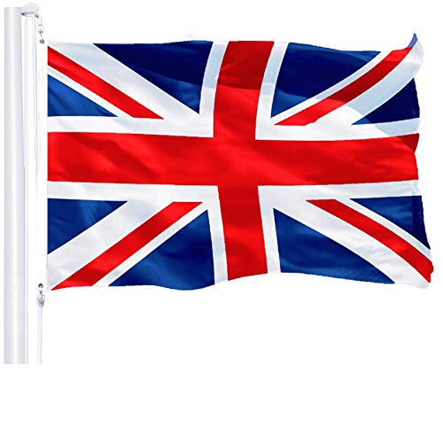 (G128 - United Kingdom Flag (British, Union Jack) | 3x5 feet | Printed 150D - Indoor/Outdoor, Vibrant Colors, Brass Grommets, Quality Polyester, Much Thicker More Durable Than 100D 75D Polyester)