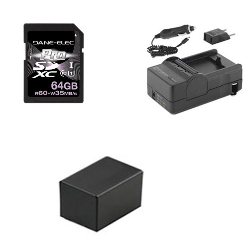 Canon PAL/HF R306 HD Camcorder Accessory Kit includes: KSD64GB Memory Card, SDM-1556 Charger, ACD786 Battery, SDM-1556 Charger, ACD786 Battery by Synergy Digital