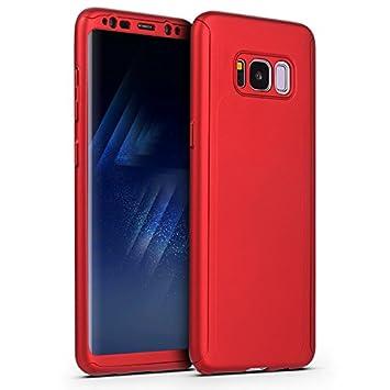 Coque pour Samsung Galaxy S8 + Verre trempé Film de Protection, SaKuLa Samsung Galaxy S8 Coque 360 Degrés de Protection Complète Protecteur Coque [Full body avant et arrière Protection] dur Etui PC Plastique, Housse de Protection Cas en caoutchouc en Ultra