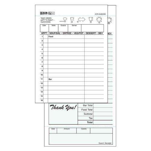 DayMark ACR-G4900BK Carbon Guest Check Book, 2 Part, Green, 8-1/4