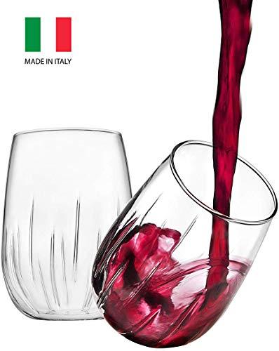 Godinger Aerating Wine Glasses Stemless Goblets Wine Aerator, Made in Italy - 16oz, SET OF 8 (Goblets Wine Stemless)