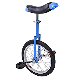 "16"" Wheel Blue & Black Adjustable Height Unicycle Balance Exercise"