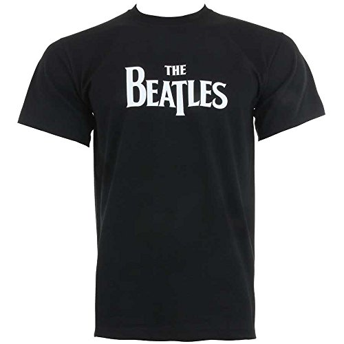 The Beatles Classic Distressed Logo Youth T-Shirt - Black (X-Large)