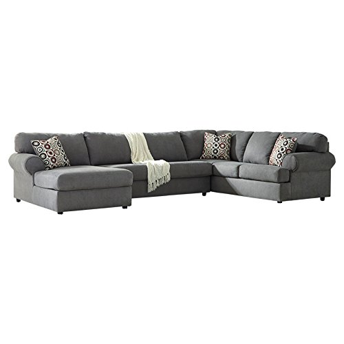 - Ashley Furniture Signature Design - Jayceon Contemporary 3-Piece Sectional - Left Arm Facing Corner Chaise, Armless Loveseat, and Right Arm Facing Sofa - Steel