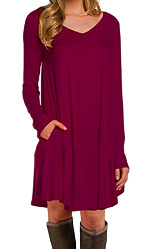 Cruiize Women's Wine Pockets Sleeve V Shirt Neck Long Dress Mini Loose Fit Tunic Red RC4qRS