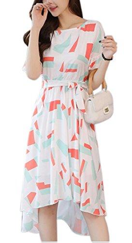 Short Dresses Floral Sleeve Irregular Print Summer Women Jaycargogo Hem Ruffled 3 Chiffon vwEqpn6