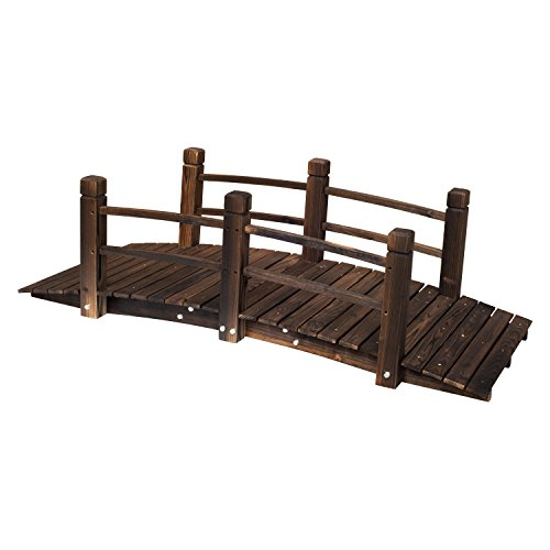 5FT Stained Wooden Garden Bridge With Rails Fir Wood Construction Solid Arch Frame Pond Creek Yard Backyard Arch Archway Walkway Decorative Décor Patio Outdoor Furniture 400LBS Weight Capacity by HPW