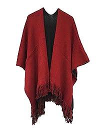 Wowforu Women Winter Fringe Reversible Cashmere Poncho Capes Shawl Coat