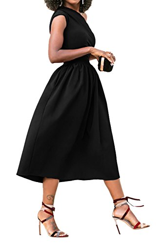 Midi Evening A Formal Sleeveless Angerella One Line Dress Black Dresses Elegant Shoulder gw7xqFzH