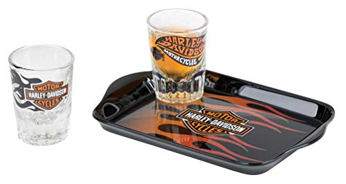 Harley-Davidson Flames Shot Glass Set w/Tip Tray - 2 oz. Shots HDL-18794