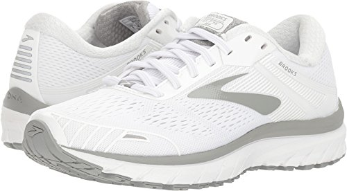 Brooks Women's Adrenaline GTS 18 White/White/Grey 10.5 D US (Womens Brooks Adrenaline Gts)