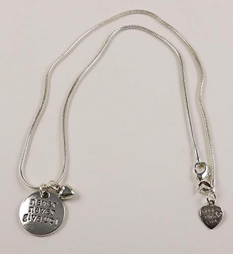- Never Never Give Up Charm Necklace with Puffed Heart Charm