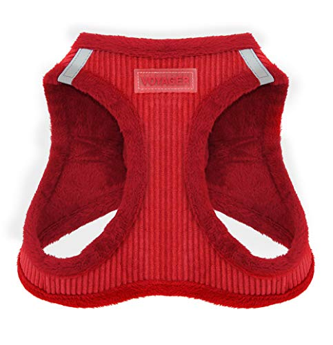 Voyager Soft Harness for Pets – No Pull Vest, Best Pet Supplies, Medium, Red Corduroy