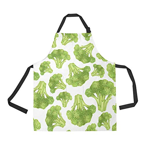 NQEONR Durable West Blue Flower Vegetable Green All Over Print Apron with an Adjustable Neck&Two Spacious Front Pocketst Unisex Kitchen Home Restaurant Apron for Baking -