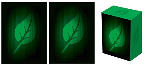 Legion SUPER Iconic LIFE Deck Box + 100 Matching DOUBLE Matte Finish GREEN LEAF Sleeves (fits Magic / MTG, Pokemon Cards)