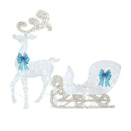 Home Accents Holiday 65 in. LED Lighted White Reindeer and 46 in. LED Lighted White Sleigh with Blue Bows (1) from Home Accents Holiday