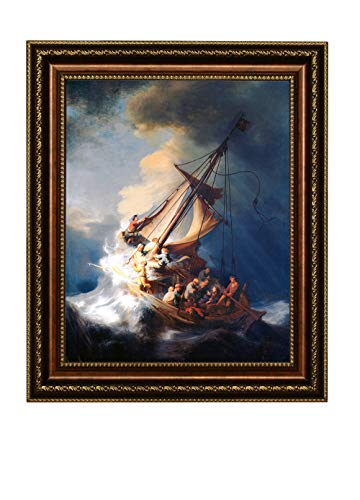 (Eliteart-Christ in a Storm on The Sea of Galilee by The Dutch Golden Age Painter Rembrandt Van Rijn Oil Painting Reproduction Giclee Wall Art Canvas)