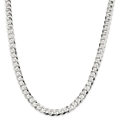 Solid 925 Sterling Silver 8.5mm Close Link Flat Cuban Curb Chain Necklace 20