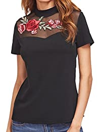 Women Blouse, TOPUNDER Black Embroidered Rose Applique Mesh Neck T-shirt