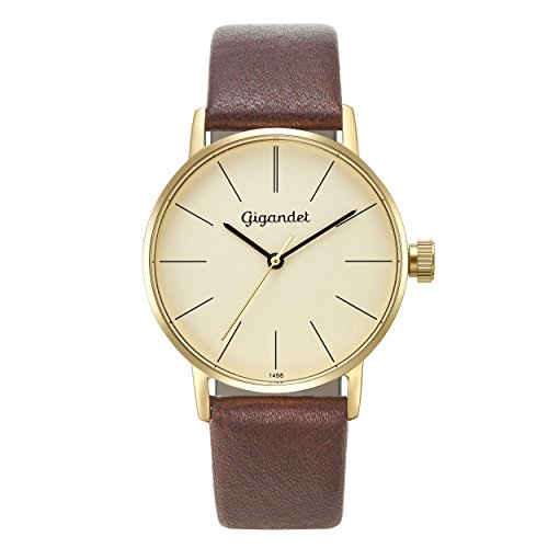 Gigandet Women's Quartz Watch Minimalism Analog Leather Strap Gold Brown G43-009