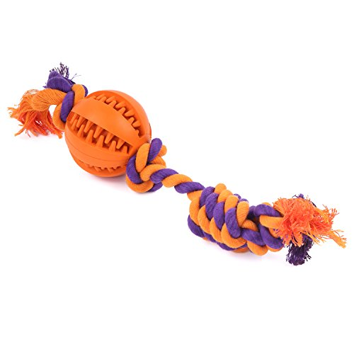Amazon #LightningDeal 98% claimed: Pawaboo Dog Ball Toy with Dental Chew Rope, Durable Non-toxic Rubber Treat Holder Ball Chew Toy with Tough Chain Cotton Rope, Teeth Cleaning Knotted Play Ball Toy, Orange