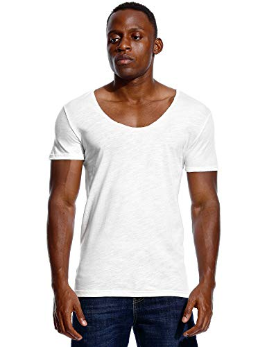 Deep V-neck Undershirt (Deep V Neck T Shirt for Men Low Cut Scoop Tee Invisible Tshirt Vee Top White 3XL)