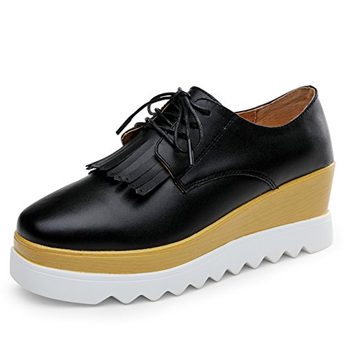 Platform Casual Spring Tie A Thick UK Shoes Shoes Shoes Female soled Wedges Leather Wind PrrCqnwY5