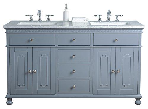 Stufurhome HD-1013G-60-CR 60 inch Grey Abigail Embellished Double Sink Bathroom Vanity, 60
