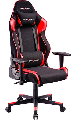GTracing High Back Gaming Chair Fabric And PU Leather Racing Chair Backrest And Height Adjustable E-sports Chair Ergonomic Computer Office Chair with Lumbar Support by GTRACING
