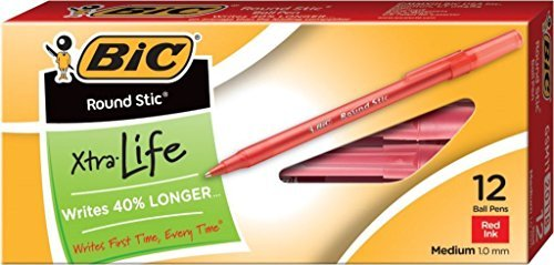 - BIC Round Stic Xtra Life Ball Pen, Medium Point (1.0 mm), Red, 24-Count