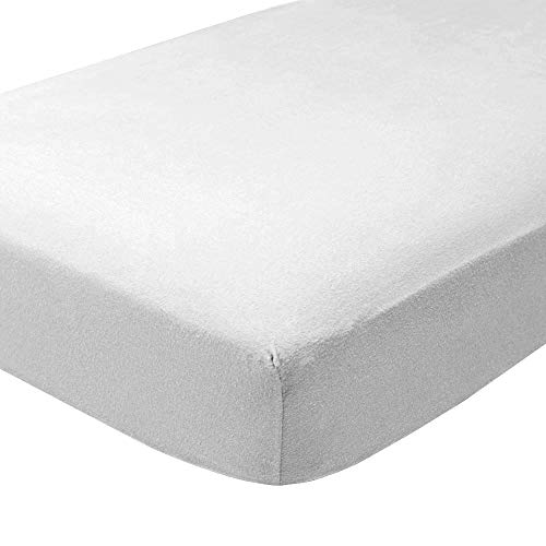 Bare Home Flannel Fitted Bottom Sheet 100% Cotton, Velvety Soft Heavyweight - Double Brushed Flannel - Deep Pocket (Queen, White)