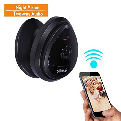 Mini IP Camera, UOKOO Home WiFi Wireless Security Surveillance Camera System with Night Vision/Two Way Audio Black
