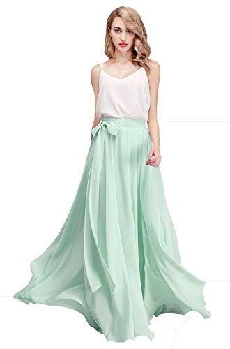 (Honey Qiao Women's Chiffon Maxi Skirt Bridesmaid Dresses Long High Waist Floor/Ankle Length Elastic Woman Dresses with Belt Mint)
