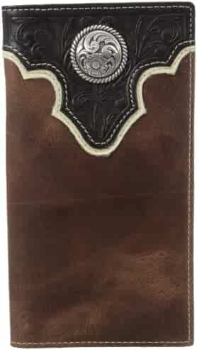 0f67312b7a45b Ariat Men s Top Concho Overlay Rodeo Black Brown Wallet