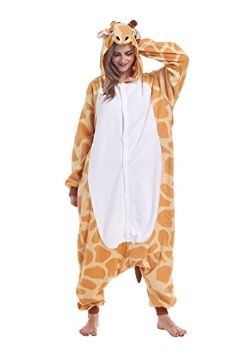 cosMonsters Women Men Adult Animal Giraffe One-Piece Pajamas Cosplay Onesie Christmas Costume(Large)